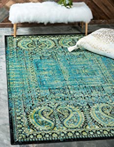 Unique Loom Imperial Collection Modern Traditional Vintage Distressed Aquamarine Area Rug (2' 0 x 3' 0)