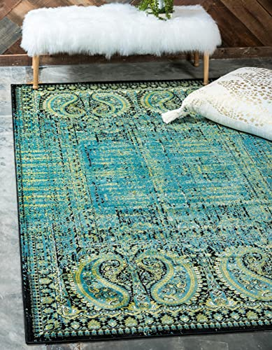 Unique Loom Imperial Collection Modern Traditional Vintage Distressed Aquamarine Area Rug 10 0 x 13 0