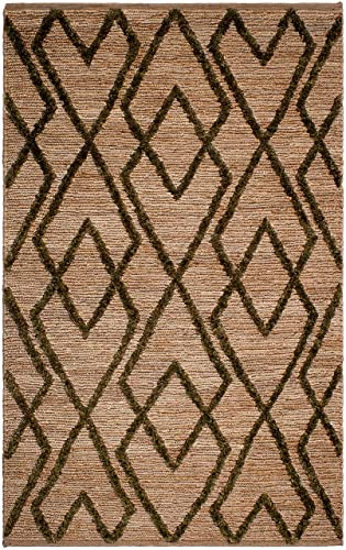 Fab Habitat, Sustainable Jute Cotton Area Rug Floor Mat, Eco-Friendly Natural Fibers, Handwoven Anatolia Soumak Rug – Green 4 x 6