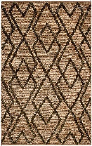 Fab Habitat, Sustainable Jute Cotton Area Rug Floor Mat, Eco-Friendly Natural Fibers, Handwoven Anatolia Soumak Rug – Green 4 x 6