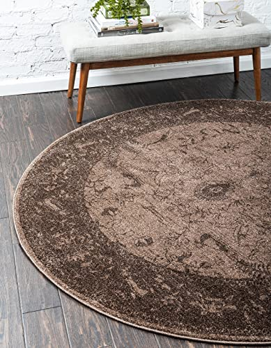 Unique Loom La Jolla Collection Tone-on-Tone Traditional Brown Round Rug 8 0 x 8 0