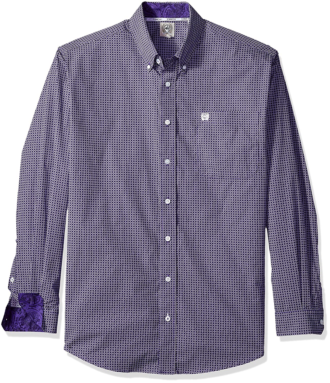 Cinch SHIRT メンズ B074MFV6L1 L|Purple Geometric Purple Geometric L