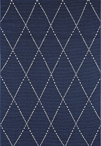 GAD Premium Indoor Outdoor Patio Geometric Drew Pattern Area Rug 5 3 x 7 7 Navy Blue White Modern Diamond Pattern Rug – Inside Outside Stain Fade Resistant Rug for The Porch, High Traffic Deck