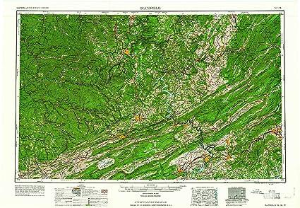 Topographic Map West Virginia.Amazon Com Yellowmaps Bluefield Wv Topo Map 1 250000 Scale 1 X 2