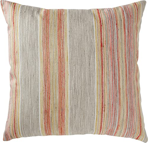 Amazon Brand Rivet Bohemian Stripe Decorative Pillow, 17 x 17 , Sunset