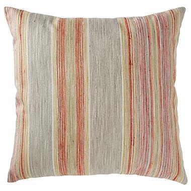 Rivet Bohemian Stripe Pillow, 17  x 17 , Sunset