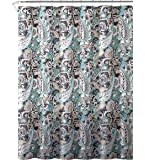 "Elegant Gray Mint Green Beige Fabric Shower Curtain: Large Floral Paisley Print Design, 72"" x 72"" inch"