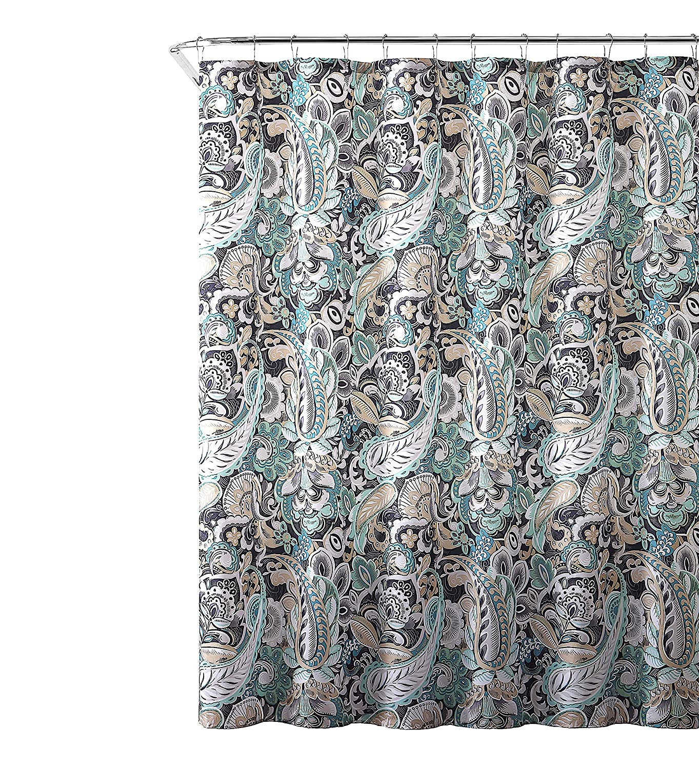Amazon Elegant Gray Mint Green Beige Fabric Shower Curtain Large Floral Paisley Print Design 72 X Inch Home Kitchen