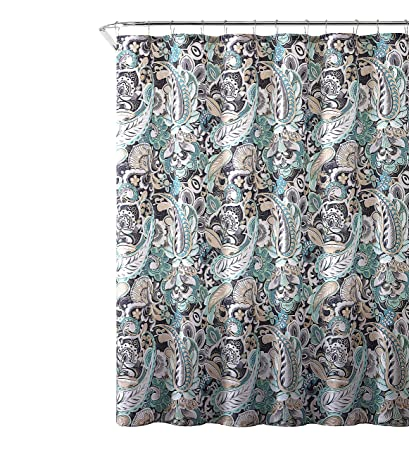 Elegant Gray Mint Green Beige Fabric Shower Curtain Large Floral Paisley Print Design 72quot
