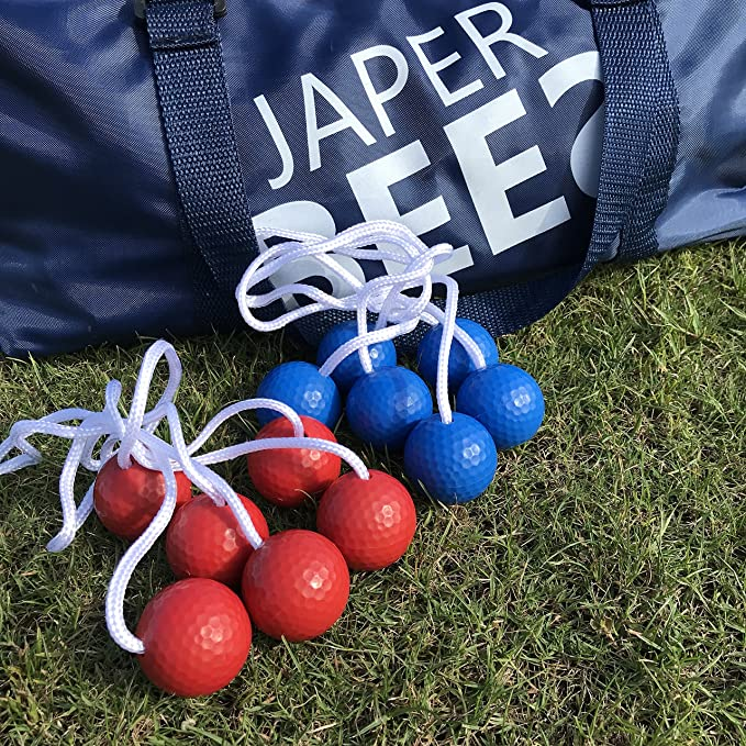 Amazon.com : JAPER BEES Premium Ladder Ball Toss Game Set, Yard Game, Golf Toss, Blongo Bolo Ball Lawn Game with Thickest Pipes, 6 Real Golf Ball Bolas, ...