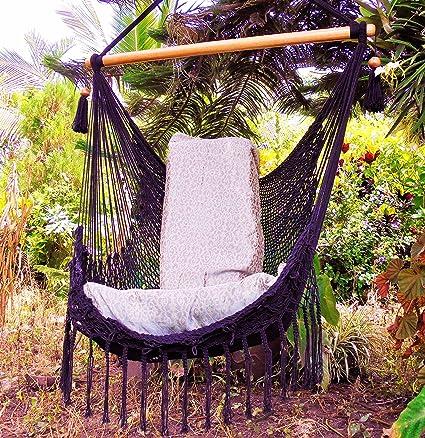 Black hammock chair with macrame edge handmade cotton/ Indoor outdoor chair hammock/ Hanging chair  sc 1 st  Amazon.com & Amazon.com : Black hammock chair with macrame edge handmade cotton ...