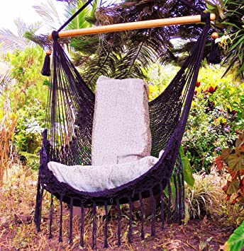 Black Hammock Chair With Macrame Edge Handmade Cotton/ Indoor Outdoor Chair  Hammock/ Hanging Chair