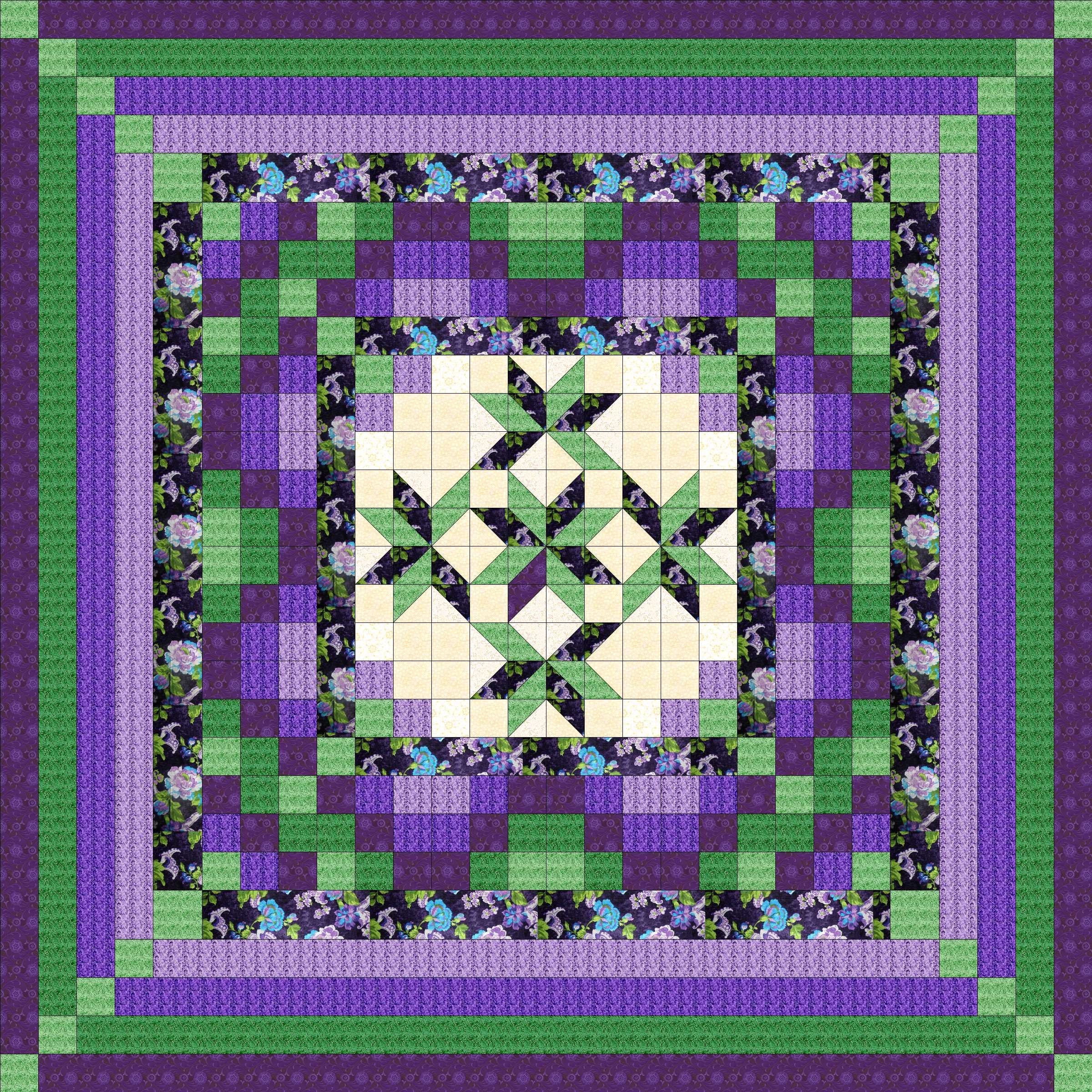 Easy Quilt Kit Nine Patch Star Lily Purple/Green/King