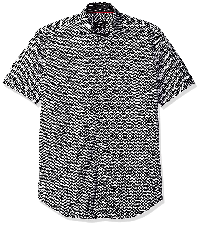 BUGATCHI Mens Printed Black Geo Shapes Spread Collar Short Sleeve Shirt