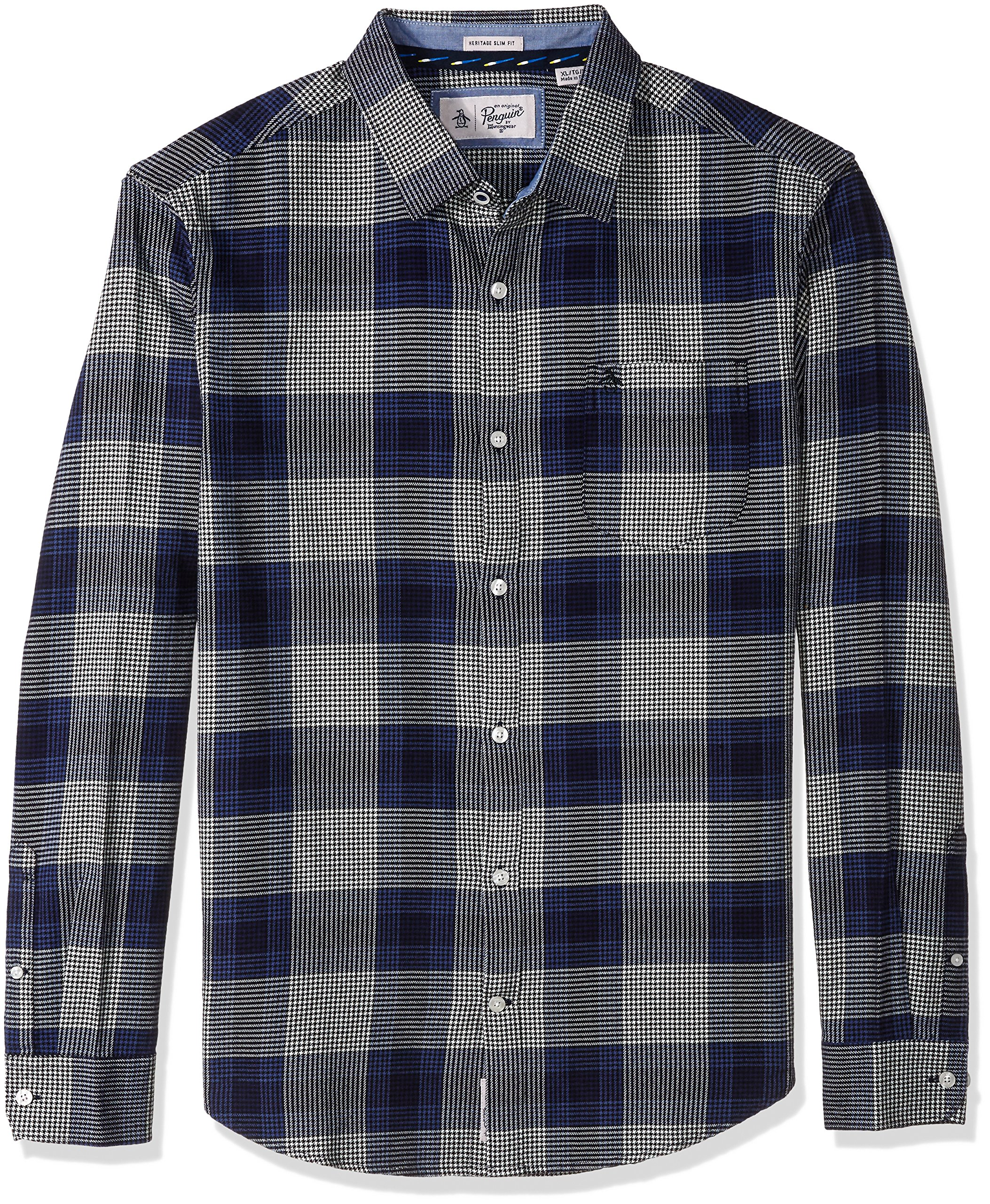 Original Penguin Men's Brushed Plaid Flannel Dress Shirt, Snorkel Blue, Large by Original Penguin (Image #1)