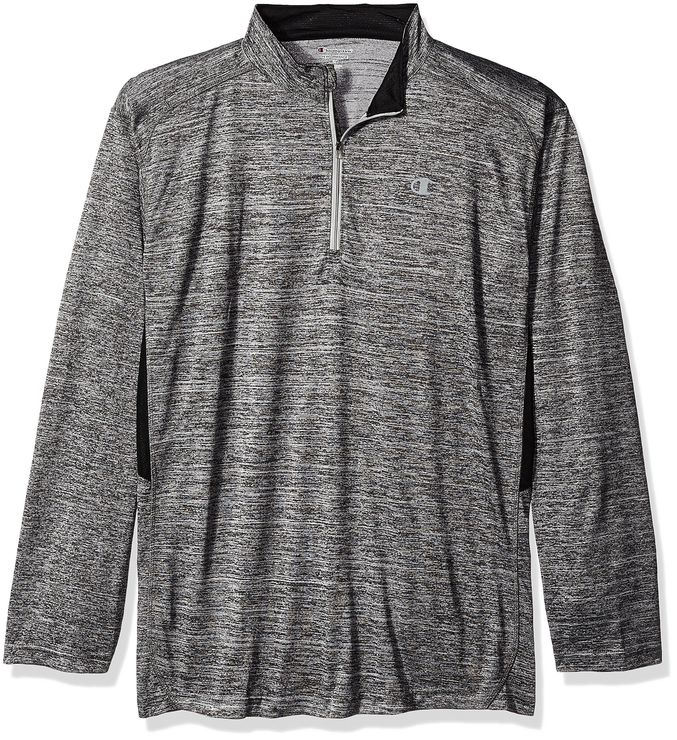 Champion Men's Big and Tall 1/4 Zip Pullover with Lc c, Granite/Black, LT by Champion