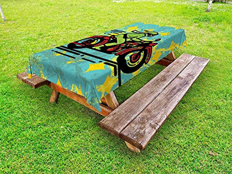 Strange Amazon Com Lunarable Motorcycle Outdoor Tablecloth A Young Squirreltailoven Fun Painted Chair Ideas Images Squirreltailovenorg