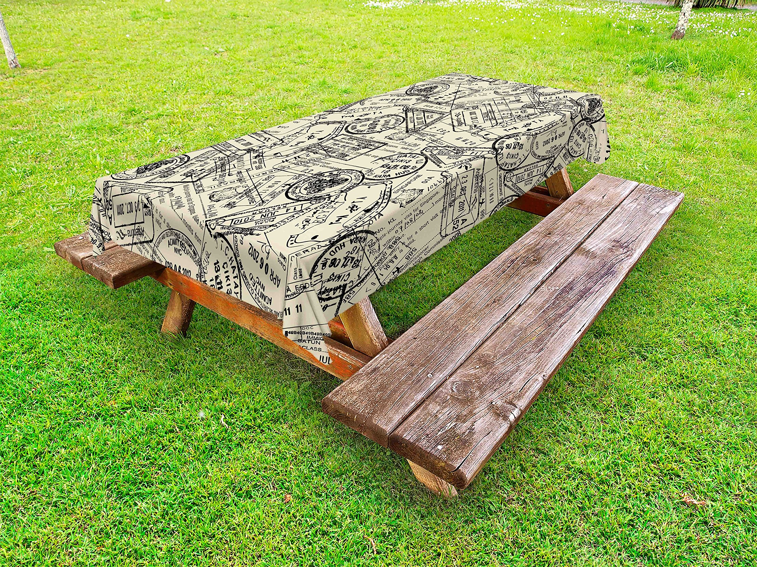 Lunarable Retro Outdoor Tablecloth, Vintage Stamps Nostalgic Traveler International Letter Country Vintage Journey Image, Decorative Washable Picnic Table Cloth, 58 X 104 inches, Ivory Black