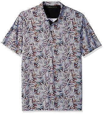 635b86855 Bugatchi Men's Modern Trim Fit Candy Leaf Printed Polo Shirt at ...
