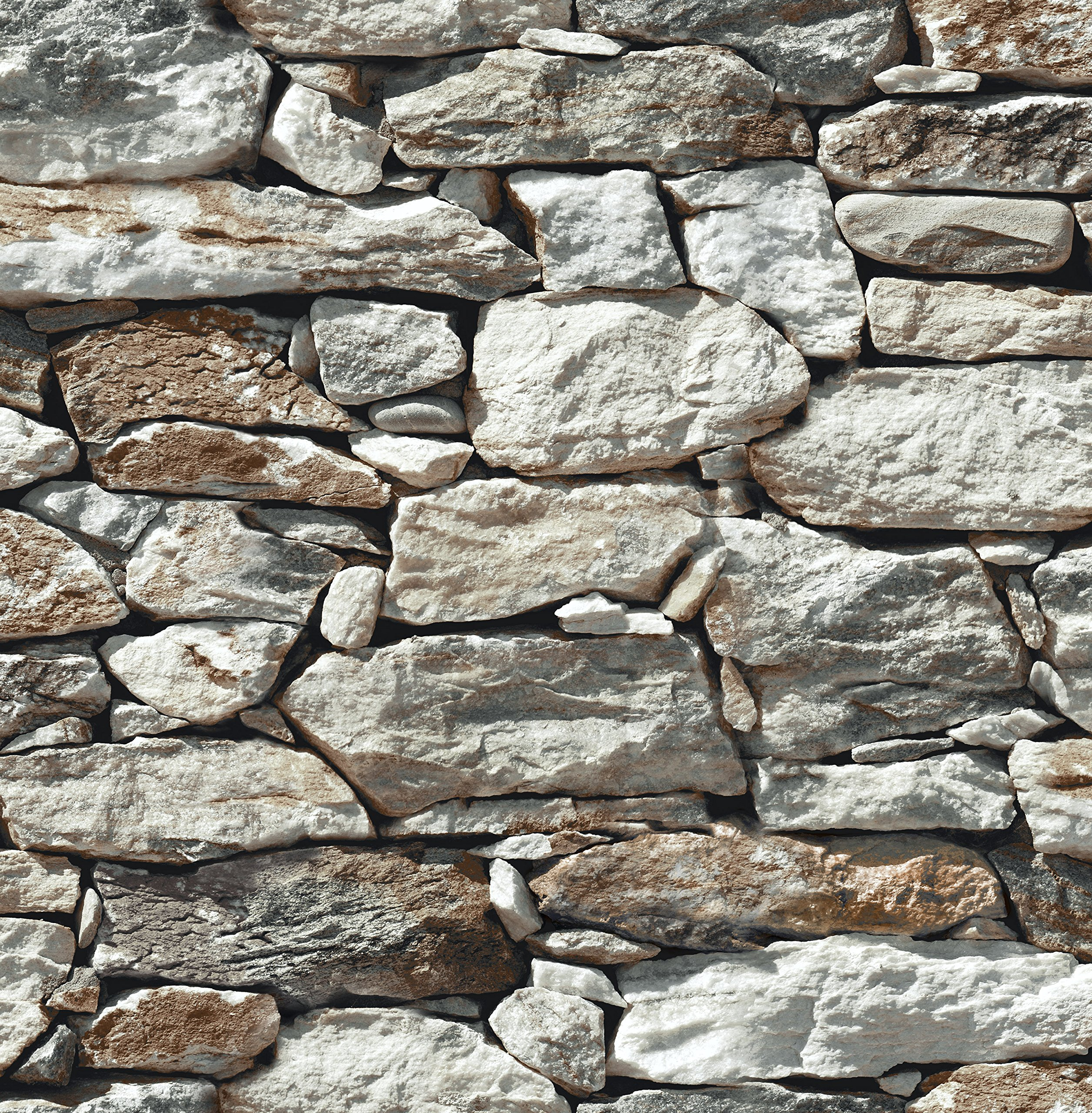 NextWall Stone Wall Peel and Stick Wallpaper (Gray)