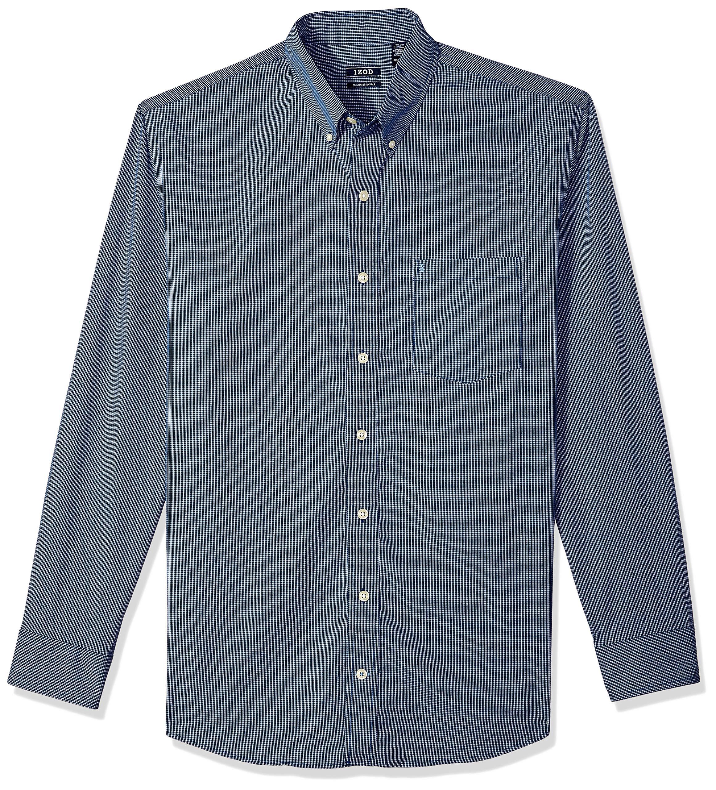 Izod Mens Big and Tall Button Down Long Sleeve Stretch Performance Stripe Shirt Button Down Shirt