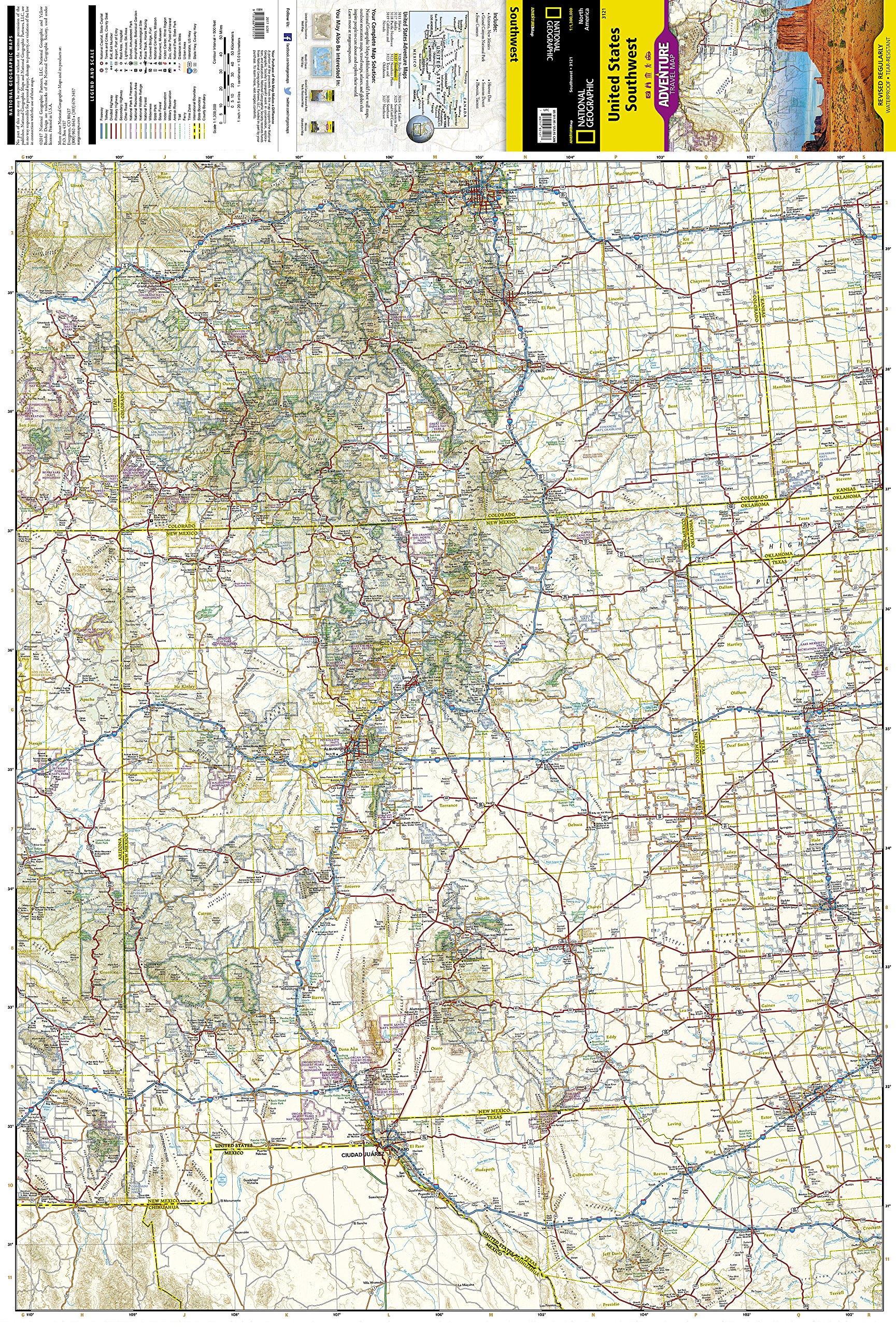 United States, Southwest (National Geographic Adventure Map ...