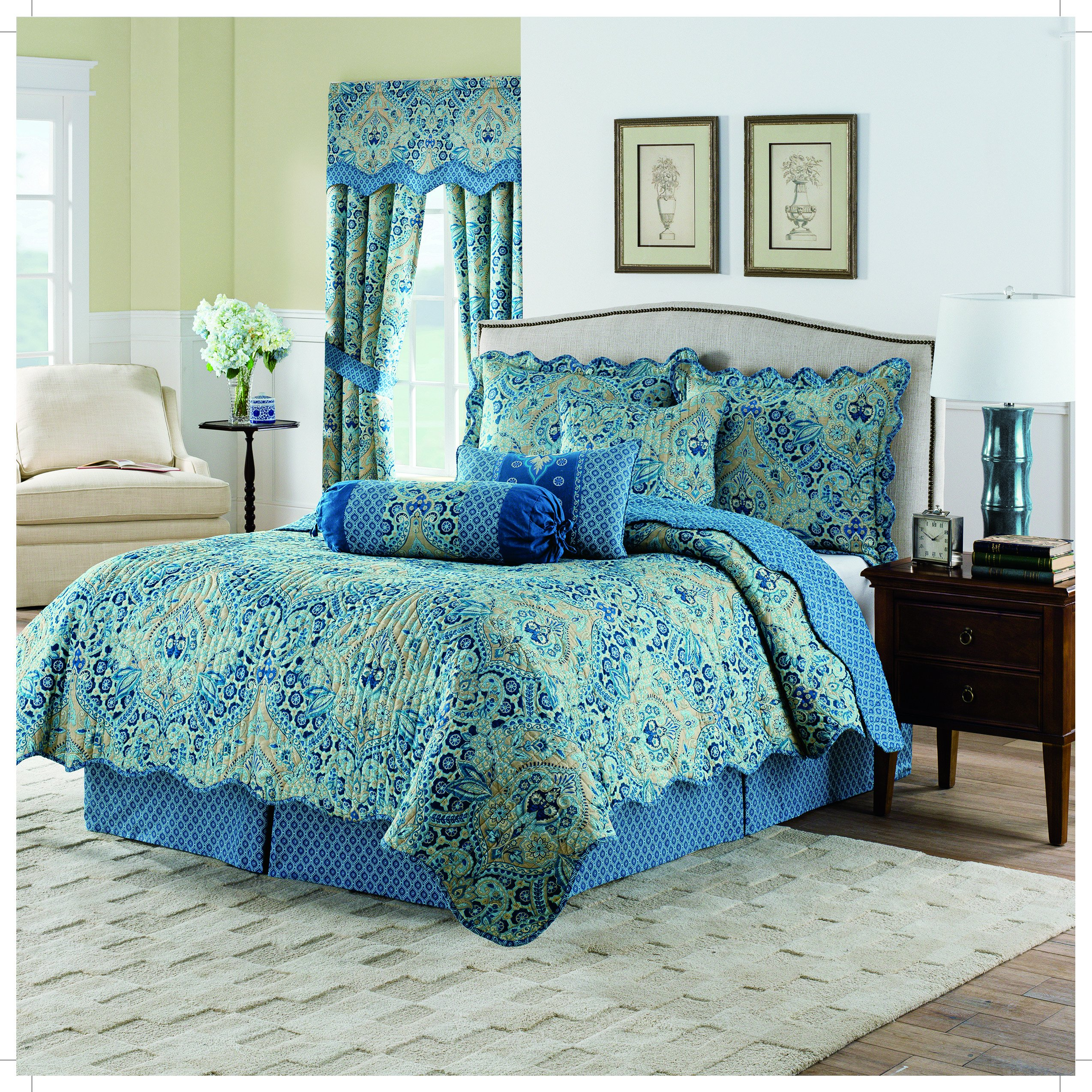 Waverly Moonlit Shadows Quilt Collection, King, Lapis