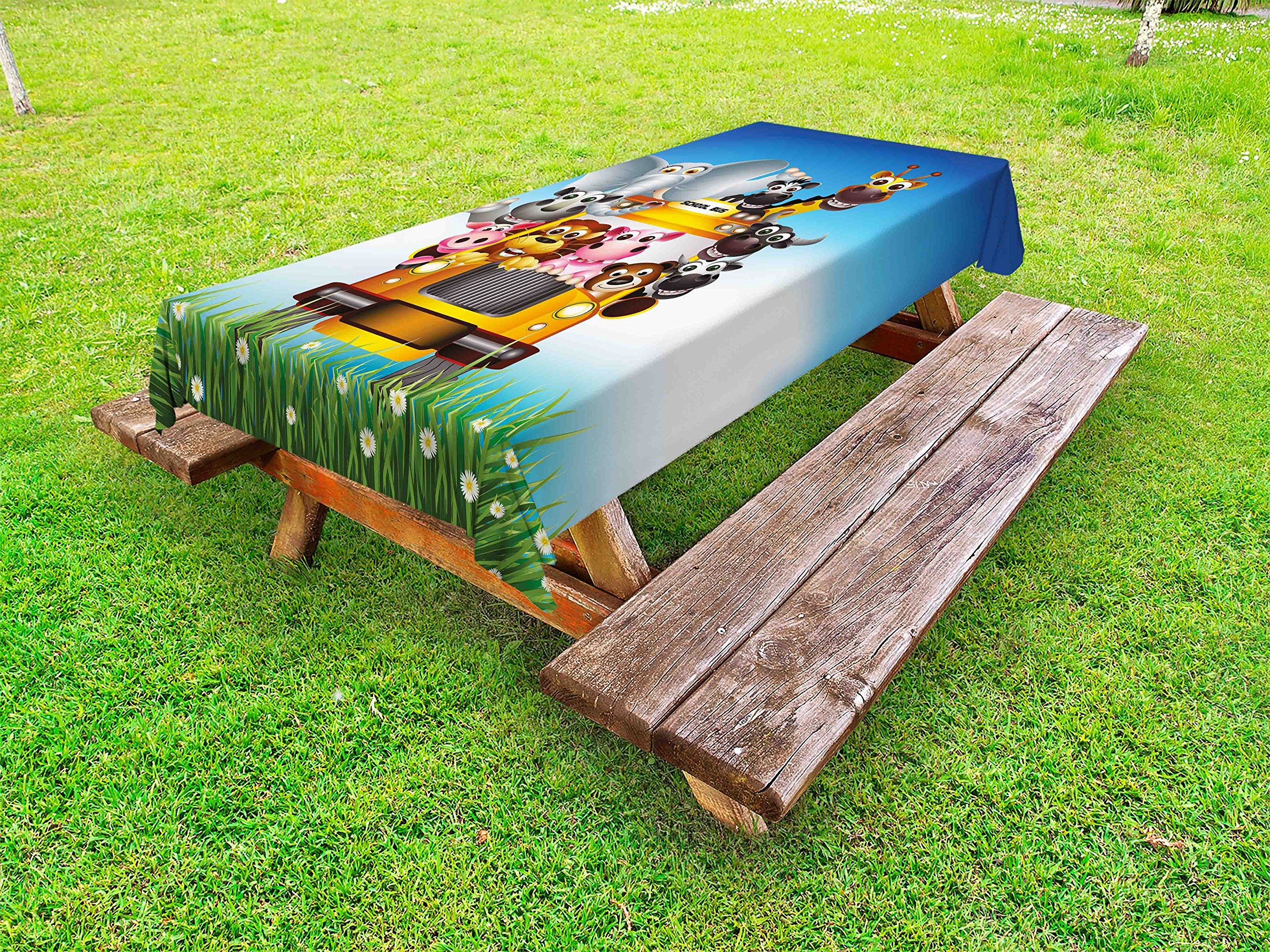 Lunarable Kids Outdoor Tablecloth, Funny Animals on a School Bus Zoo Theme with Elephant Cow Zebra Lion Piggy and Giraffe, Decorative Washable Picnic Table Cloth, 58 X 104 inches, Multicolor