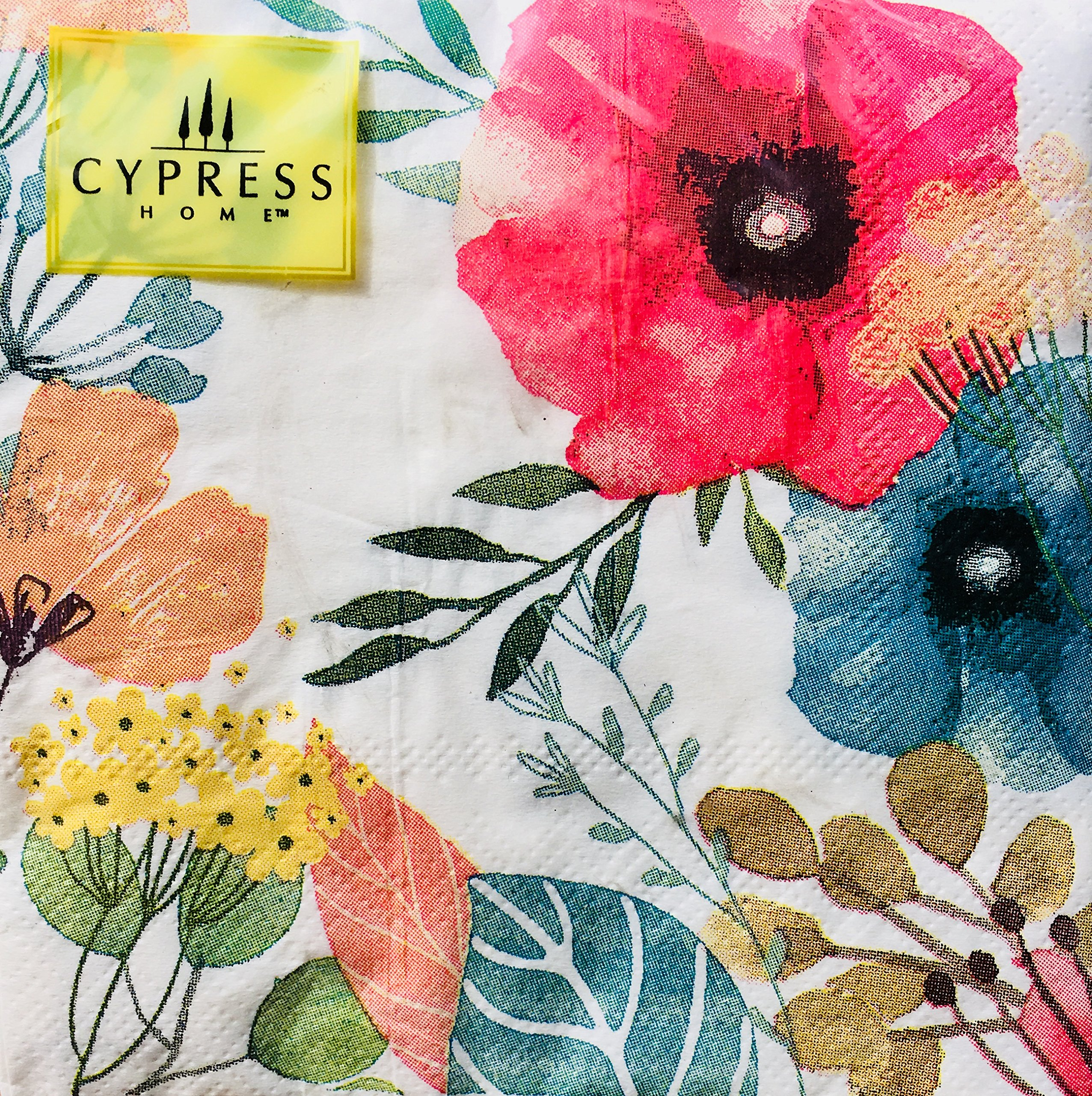Cypress Home Watercolor Poppies IV Cocktail Beverage Paper Napkins, 40-ct