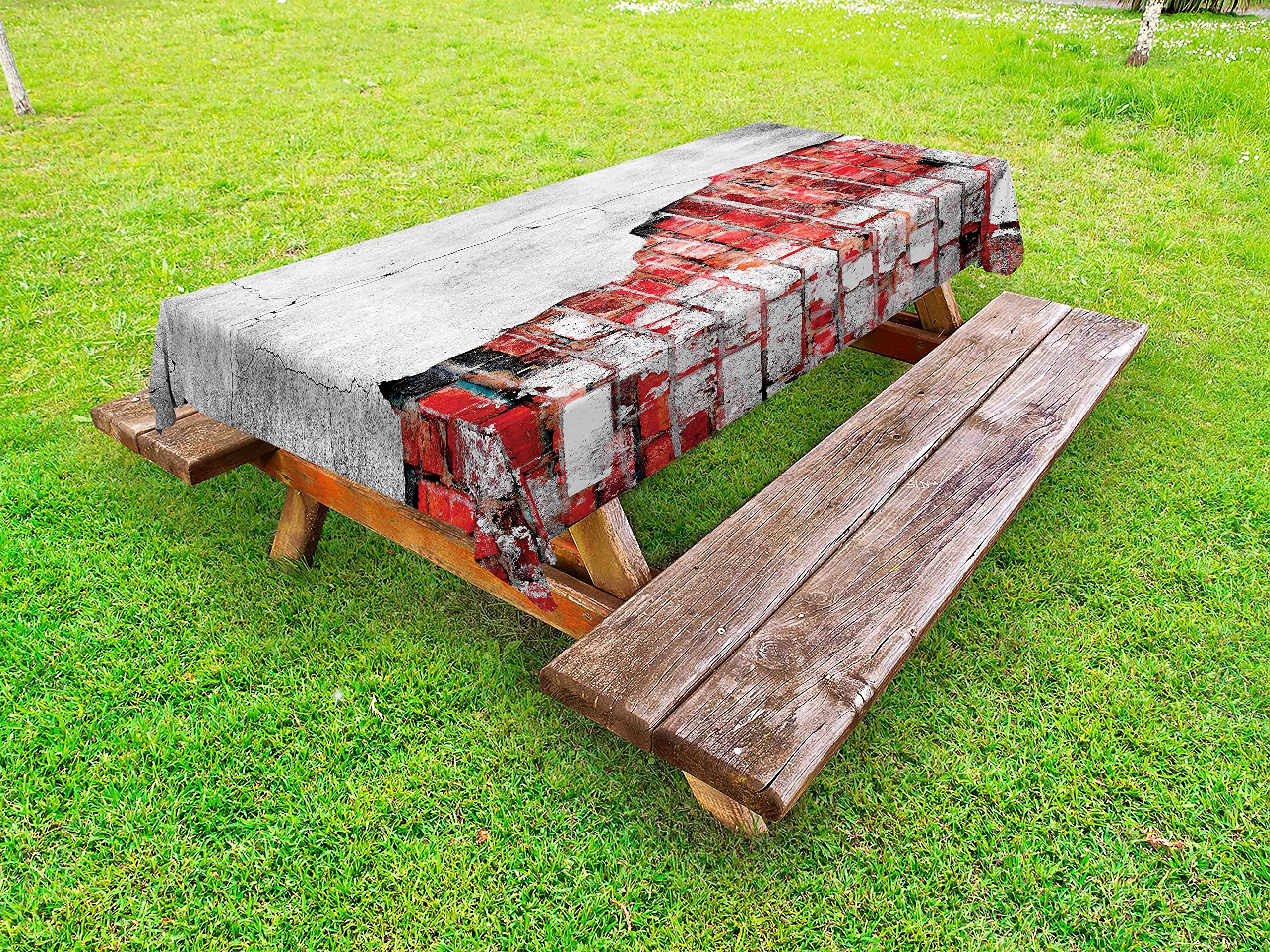 Lunarable Red and Black Outdoor Tablecloth, Cracked Old Spooky House Wall with Tiles Grunge Street Art Image, Decorative Washable Picnic Table Cloth, 58 X 104 inches, Pale Grey and White