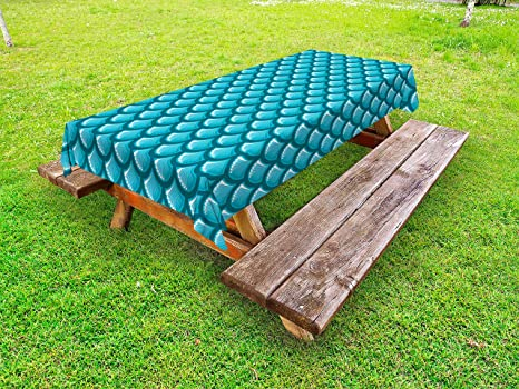 Pleasant Lunarable Blue Outdoor Tablecloth River Fish Scales Pattern Mermaid Shells Ocean Life Nautical Inspiration Decorative Washable Picnic Table Cloth Gmtry Best Dining Table And Chair Ideas Images Gmtryco