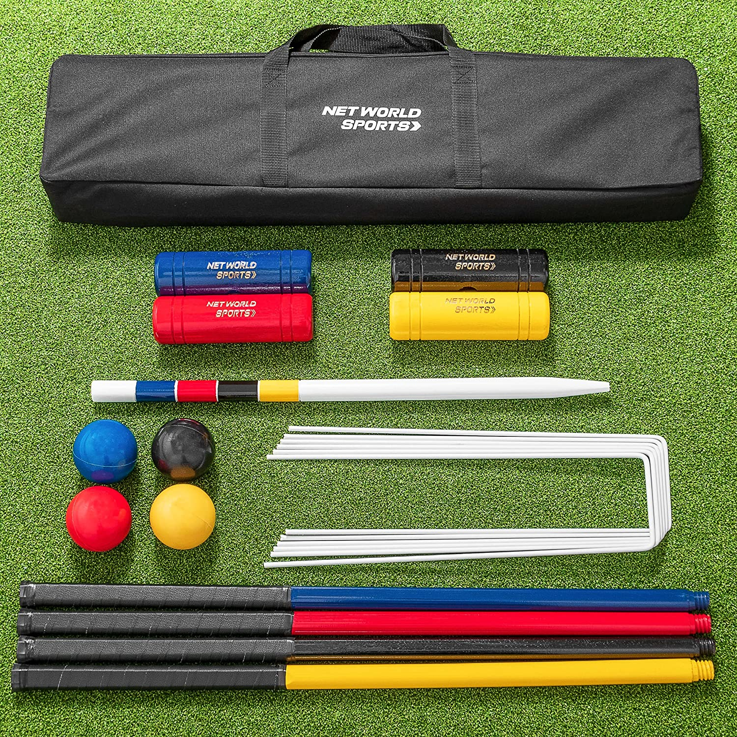 Net世界スポーツComplete 4 Person Croquet Set – フルサイズ木製Lawn Croquet Set従来Mallets、スチールフープ、クリップ、ボール、Winning Post、フラグ& Carry Holdall B07DCTJTCH