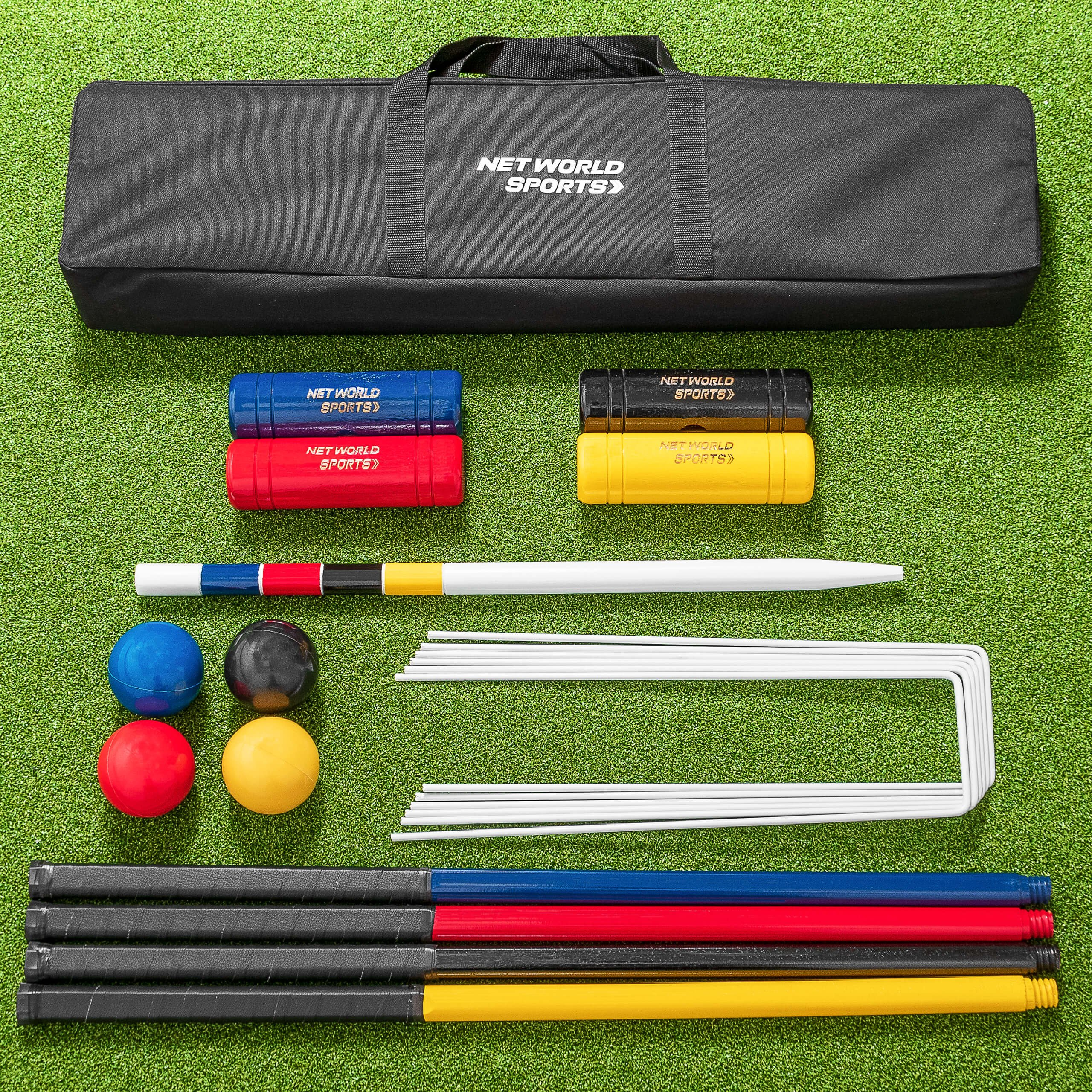 Net World Sports COMPLETE 4 PERSON CROQUET SET – Full Size Wooden Lawn Croquet Set Traditional Mallets, Steel Hoops, Clips, Balls, Winning Post, Flags & Carry Holdall by Net World Sports