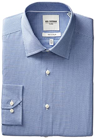 Amazon.com: Ben Sherman Men's Slim Fit Tiny Gingham Dress Shirt ...