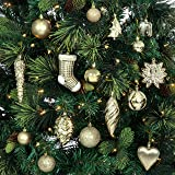 Best Choice Products Set of 72 Handcrafted Assorted Decorative Shatterproof Christmas Ornaments (Gold)