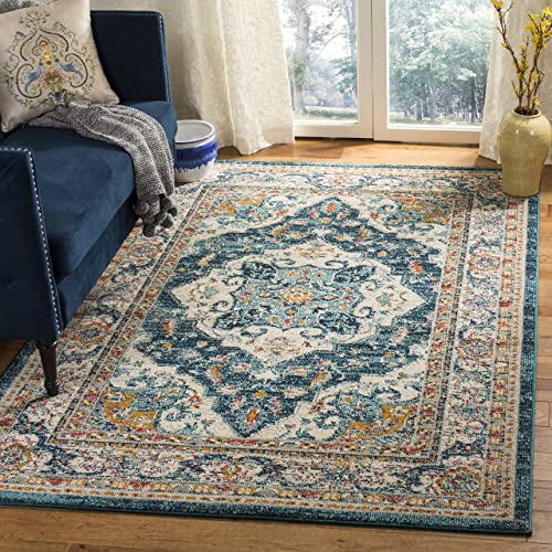 Safavieh Phoenix Collection PHX154M Area Rug, 8 x 10 , Ivory Blue