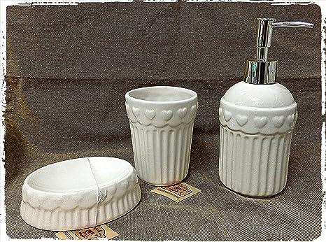 Accessori Bagno In Ceramica Bianca.Set 3 Accessori Bagno Dispenser Sapone Liquido Piattino