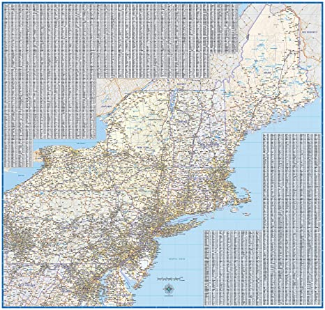 Amazon.com : Northeast US Laminated Wall map (42\