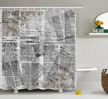 Lunarable Old Newspaper Shower Curtain Dirty Grunge Page With Overlapping Texts Shabby Look Press Artwork