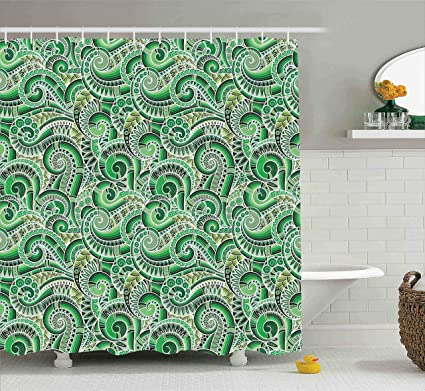 Ambesonne Green Shower Curtain Asian Decor Classic Design Swirl Cucumber Illustration Curvy Outline Mexican Vegetable