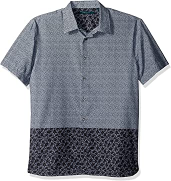Perry Ellis Mens Short Sleeve Floral Print Shirt