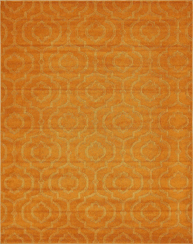 Modern Geometric Trellis Frieze Contemporaryエリアラグ 8 x 10 オレンジ B0746SMHRD 8 x 10|オレンジ