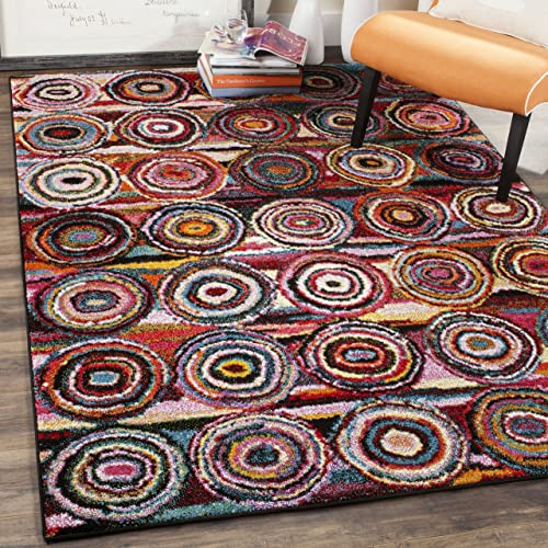 Safavieh Aruba Collection ARB504M Modern Abstract Art Geometric Circles Multicolored Area Rug 4 x 6