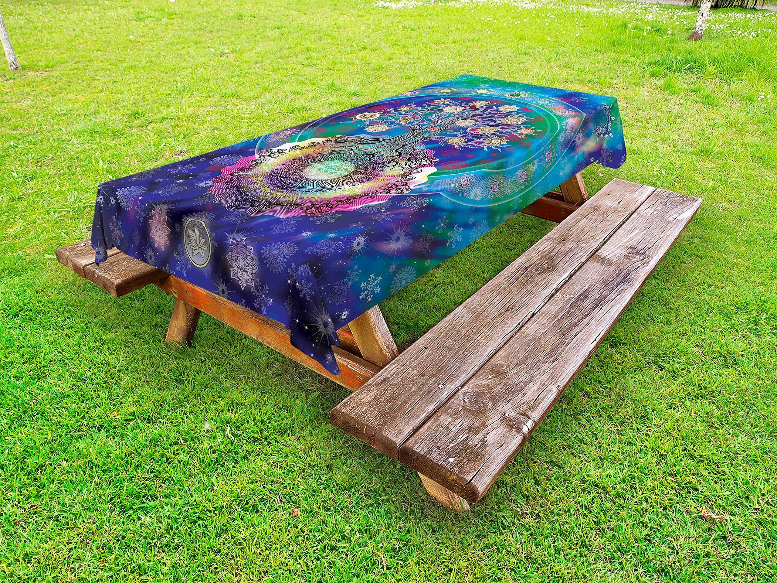 Lunarable Mandala Outdoor Tablecloth, Tree of Life Floral Style Mandala Spiritual Artwork Meditation Peace Spa Design, Decorative Washable Picnic Table Cloth, 58 X 84 inches, Blue Purple