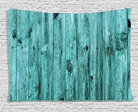 Turquoise Tapestry Art Decor By Ambesonne Blue Rustic Wooden Texture Background Antique Timber Furniture Vintage
