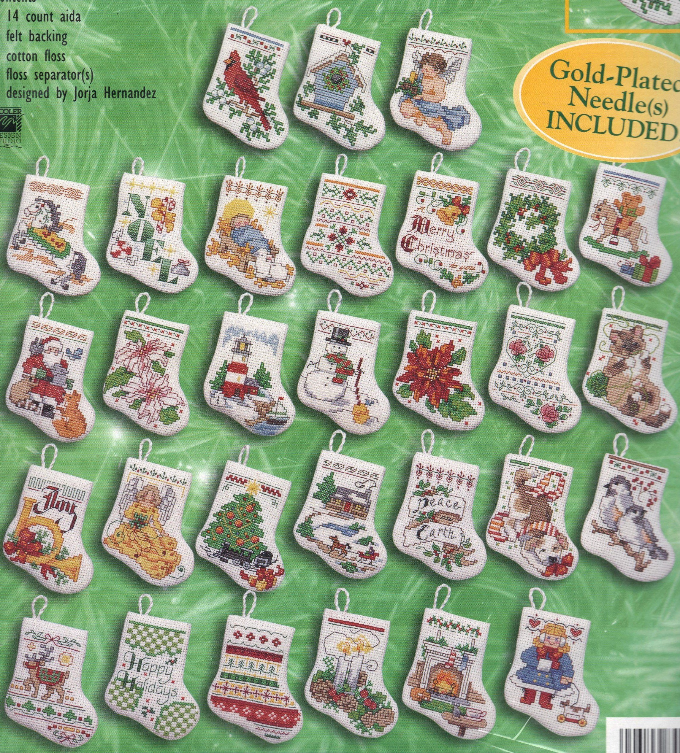 Bucilla MORE TINY STOCKINGS ORNAMENTS Counted Cross Stitch Kit Makes 30!