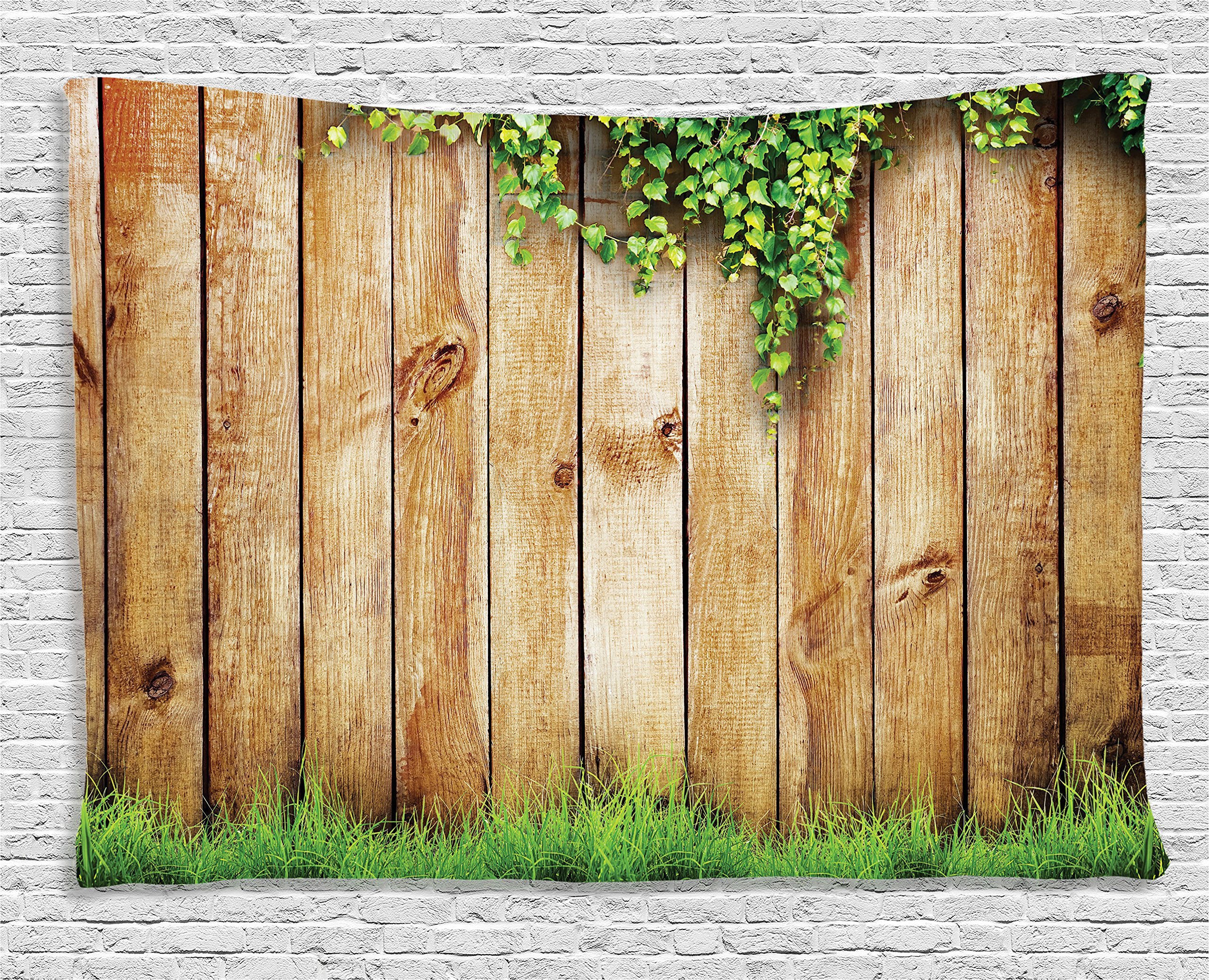Ambesonne Rustic Home Decor Tapestry, Fresh Spring Grass and Leaf Plant Over Old Wood Fence Garden Field Photo, Wall Hanging for Bedroom Living Room Dorm, 80 W X 60 L inches, Green Brown