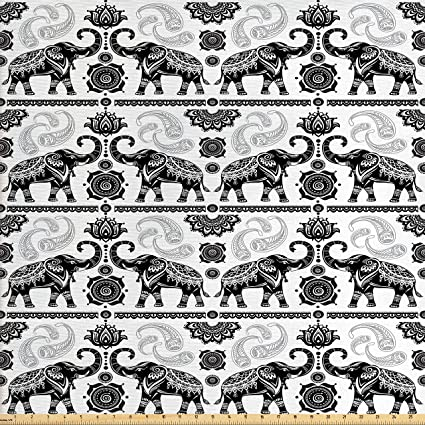 Amazon Com Ambesonne Elephant Fabric By The Yard Bohemian Tribal