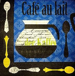 Set of 30 Cocktail Beverage Coffee Paper Napkins ~ Cafe Au Lait