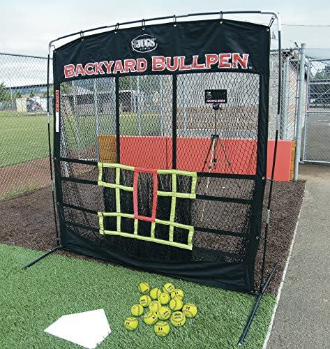 Jugs Backyard Bullpen Package for Softball Baseball Screen, Radar Cube, Carrying Bag, 15 Perfect Pitch Leather Softballs and a Throw-Down Home Plate